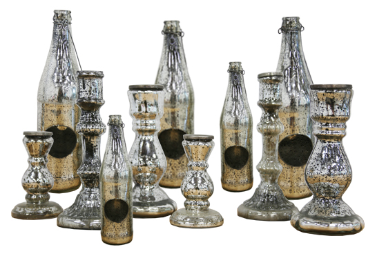 Mercury Glass Votives - Silver