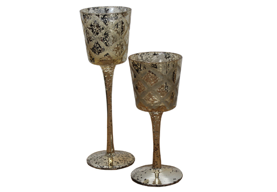 Votive Stemmed Mercury Glass