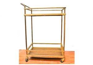 Bar Cart with Wood Shelf