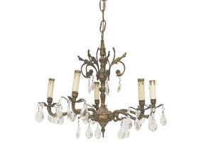 Antique Brass and Cut Crystal Chandeliers