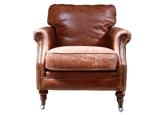 Guilford Cigar Chair - Brown Leather