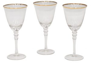Matching Gold Rim Wine Goblets - Mexico