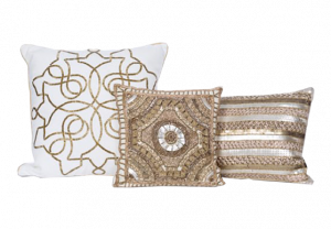 Gold Beaded Pillow Collection