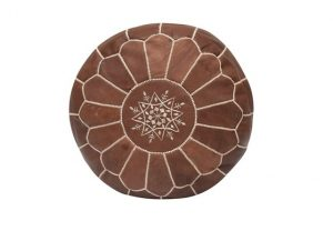 Moroccan Pouf - Brown Leather
